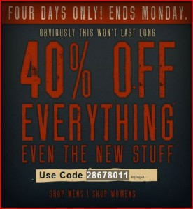 American Eagle Coupon 276x300 40% off at American Eagle
