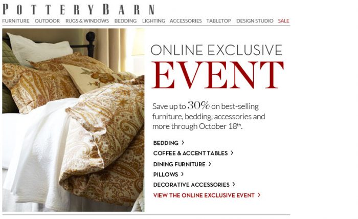 pottery barn 30 off