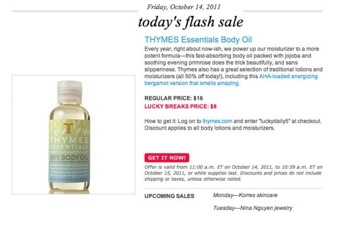 thymes lotion deal coupon code discount