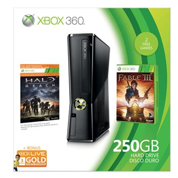 225037609 Xbox 360 250GB Console  (includes BONUS 3 Month Xbox Live Subscription Card and Halo: Reach and Fable III games) Just $299. ships FREE