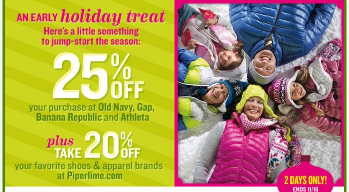 25 off major Save 25% Old Navy, Banana Republic, Gap, & Athleta 11/15 to 11/16