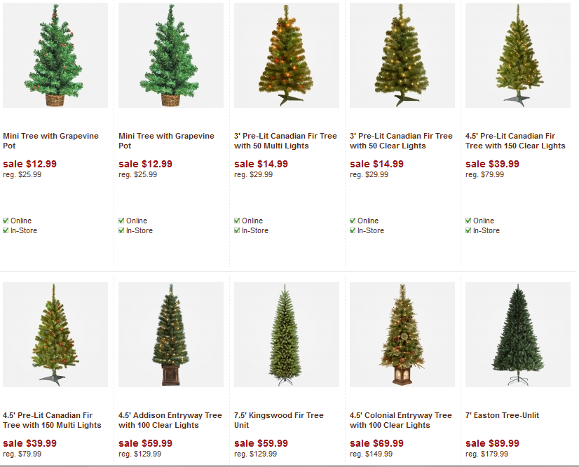 Christmas tree deals 50% off All Christmas Tree items (including decorations)