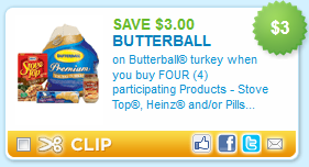butterball printable coupon deal coupon $3.00 off Buterball Coupon