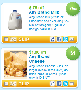 printable coupon milk and cheese $.75 off any Milk, $1.00 off any Cheese   printable coupons (UT, ID)