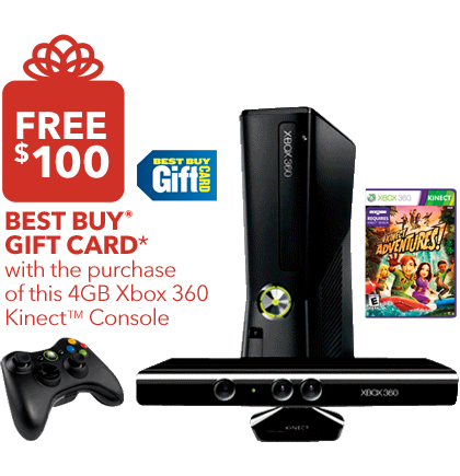 1162439 1218E Best Buy Get A $100 Gift Card WYB Xbox 360 With Kinect For $299.99