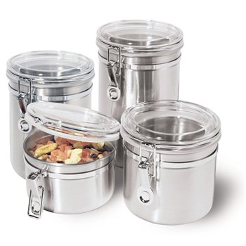 226701573 Buy.com 4 Stainless Steel Kitchen Canisters Dry Food Storage Jars Air Tight $14.99 Shipped