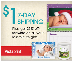 vistaprint shipping deal $1 shipping for Photo items extended!