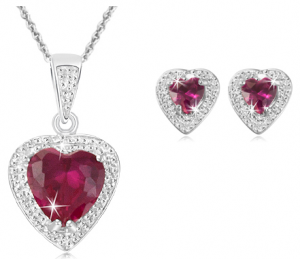 1saleaday deal jewelry 300x259 Ruby / Diamond Pendant & Earring set (reg $160) $12.99