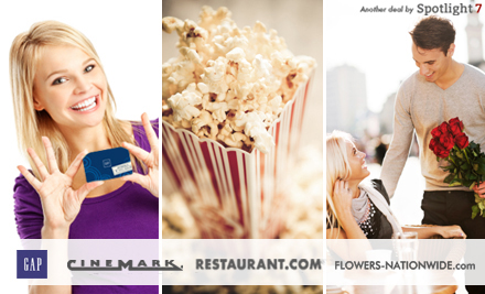 56820kjvrj lg $89 for Gap, Movie Tickets, Dining and Flowers Bundle ($165 Value)