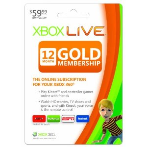 XBox Live Deal AAA Deal: Xbox Live 12 Month Gold Membership $35.99 (Reg $59.99)!