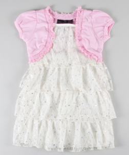 girls lace dress deal Toddler tiered lace dress w/ shrug jacket   $7