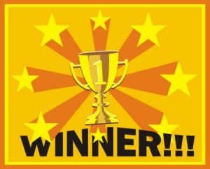 Winner Button 300x242 Winner, Winner!  TEN Winners Announced!