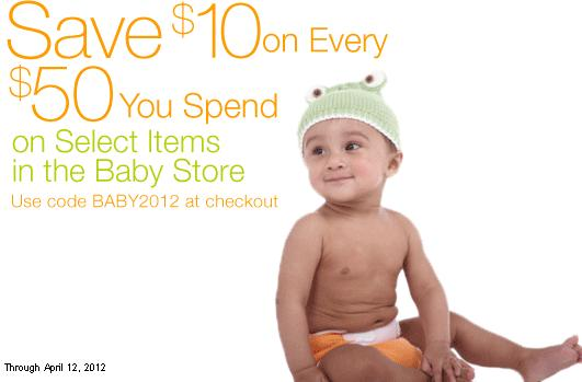 Amazon Baby Store Coupon Deal AAA Deal:  Save $10 off of $50 at Amazon Baby Store