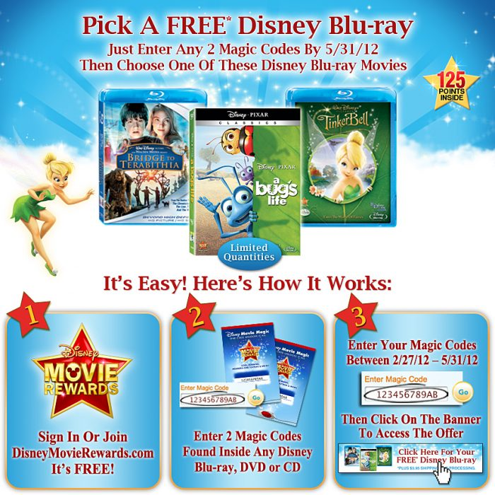 Free Disney Blu ray Deal 20 New Disney Movie Rewards Points!