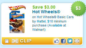 Hot Wheels Coupon *New* $3.00 Off Hot Wheels Coupon ~ Rare! = $.25/each!