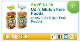 Udis Gluten Free printable coupon deal $1.00 off Udis ANY Gluten Free Product