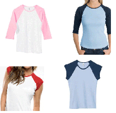 raglan sleeve tops deal 6 Raglan Jrs Tops $14.99 shipped ($2.50 each)