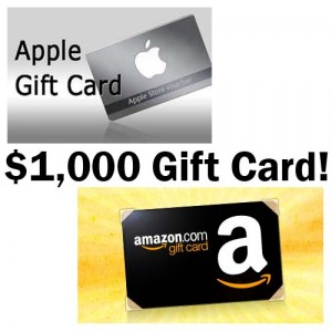 1000 gift card 300x300 HUGE Giveaway:  $1,000 Apple Gift Card OR $1,000 Amazon Gift Card!!