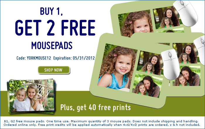 York Photo Mousepads Buy 1, Get 2 FREE Mousepads + 40 Free Prints at York Photo!
