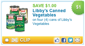 libby vegetable coupon $1 Libbys Vegetable coupon = $.35 each at Walmart