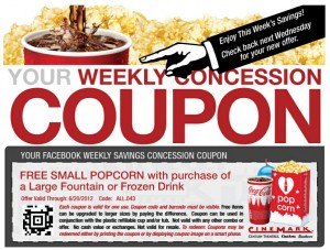 cinemark coupon 300x227 Cinemark Theater Weekly Coupon: FREE Small Popcorn with Purchase of Large Drink