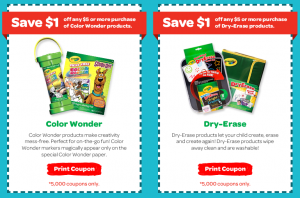 Color Wonder Coupons 300x198 HURRY! Crayola Coupons   $1 off $5 Purchase of Color Wonder or Dry Erase!