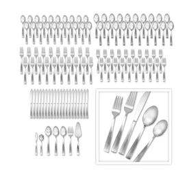 Satin Danford 107 Piece Flatware Set Service for 20 HURRY! 4 Hour Sale Means $42 Sensor Stainless Steel Trash Can and $49 107 Piece Flatware Set   Till 12 pm MST!