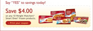 Smart Ones 4 Coupon 300x102 $4/10 Weight Watchers Smart Ones Coupon