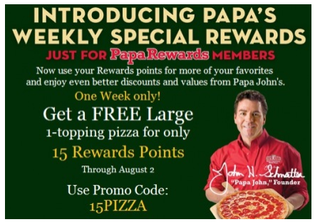 papas pizza free Get a FREE Papa Johns Pizza