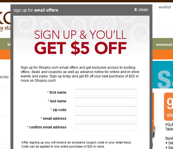 shopko email deal Organizational Items, big & little   40% off + $5 off code