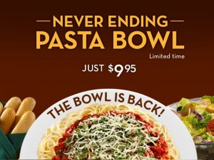 Never Ending Pasta Bowl at Olive Garden 300x225 Save 20% on Lunch, and $5 off Dinner at Olive Garden!