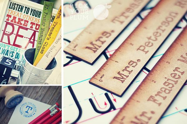 Pick Your Plum Deal Teacher Gift:  Personalized Ruler or Personalized Stamp!