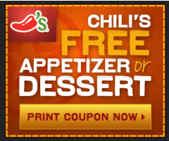 chilis free dessert Printable Coupon for FREE dessert or appetizer at Chilis