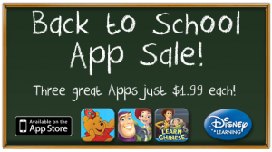 disneys back to school app sale 300x168 Disneys Back to School App Sale! Three Popular Apps Only $1.99 Each!