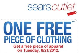 free clothing from sears Coupon   One FREE apparel item at Sears Outlet (Today only!)