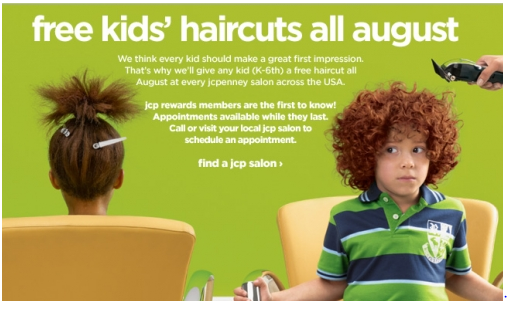 free kids hair cut deal FREE Kids Haircuts in August at JCPenny