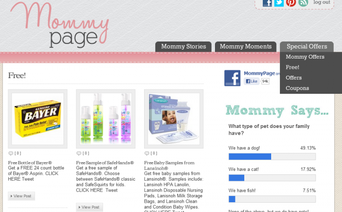 mommypage MommyPage: Daily Inspiration, Tips, Coupons, and Samples!