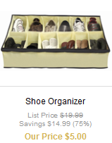 shoe organizer 32 piece E.L.F. set $6 shipped (plus other cool stuff)