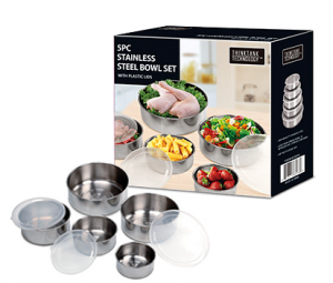 stainless steel mixing bowl set 300x255 Stainless Steel mixing bowl set with lids   $9.98 shipped