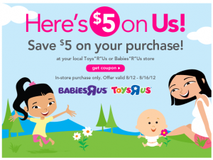 toys r us coupon 300x226 $5 off a $5 purchase at Toys R Us printable coupon