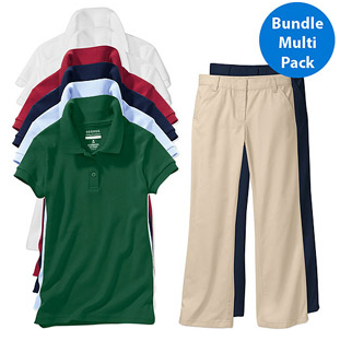 walmart girls uniform bundle 5 Girls or Boys Short Sleeve Polo Shirts & Two Pants: All for $43!