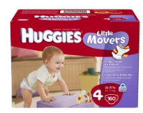 Huggies Little Movers size 4 160 ct Huggies Little Movers online Amazon Coupon = $.18/diaper
