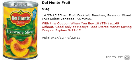 Maceys Del Monte Fruit Best Maceys Deals 9/17   9/22  *Hot Cereal Sale & More*