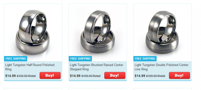 Tanga Deal Tungsten Rings 92% off!  $14.55 Shipped.  The Lord of The Rings Ring!