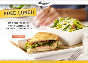 free lunch friday 300x217 HURRY! Coupon for Free Lunch Friday at Macaroni Grill! Limited Quantity!