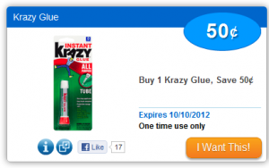 krazy glue coupon 300x188 $0.50/1 Krazy Glue Coupon!