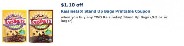 raisinets Raisinets $1.10/2 Stand Up Bag Printable Coupon!