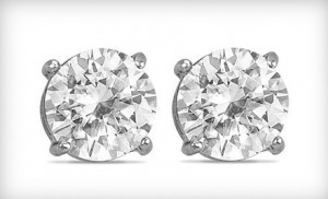 These Stunning 2 Carat White Topaz And Sterling Silver Stud Earrings