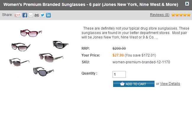 Sunglass Deal *Super Hot*  6 Premium Branded Womans Sunglasses only $5 per pair!