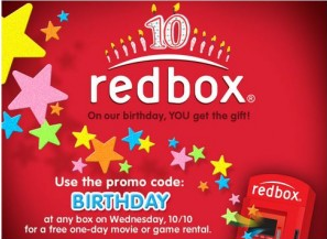 redbox birthday Reminder!  Free Redbox rental today!